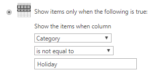 Filter view to remove holidays
