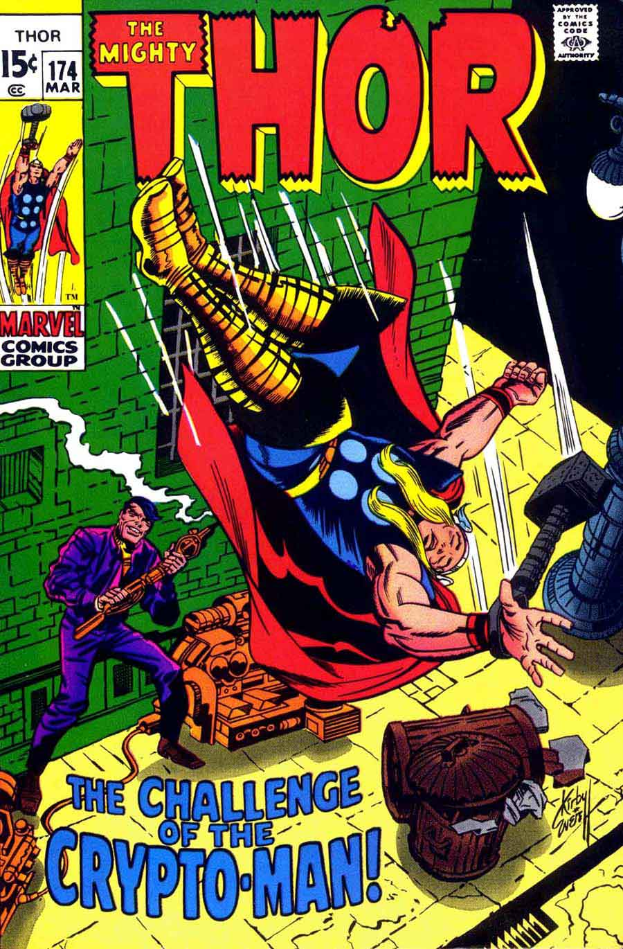 Thor v1 #174 marvel comic book cover art by Jack Kirby