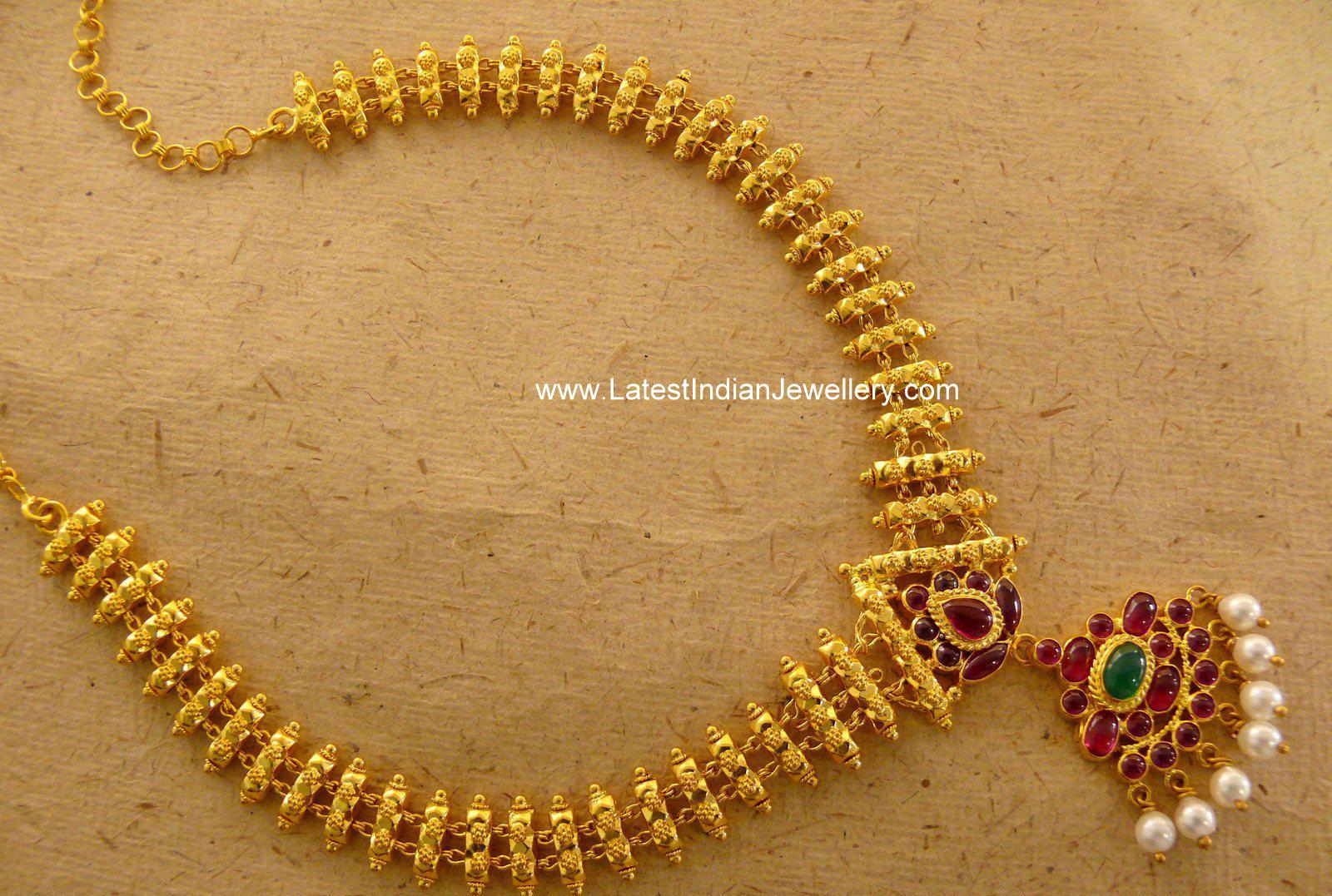 Lovely Hand Crafted Gold Necklace With Burma Rubies