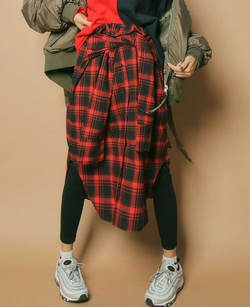 Faux Sleeve Check Pattern Skirt