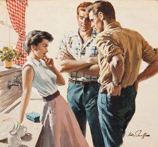 threesome kitchen vintage postcard