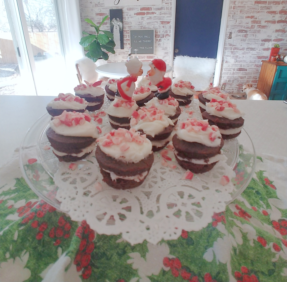 Plate of peppermint brownie bites
