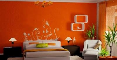 The-modern-looks-White-and-orange-bedroom-interiors-design-ideas