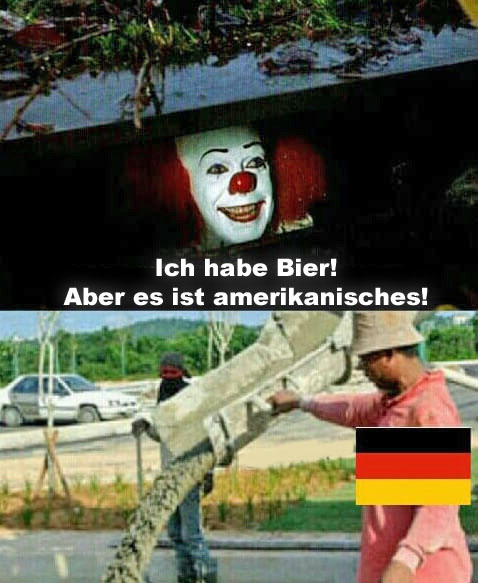 Amerikanisches Bier in Deutschland lustig