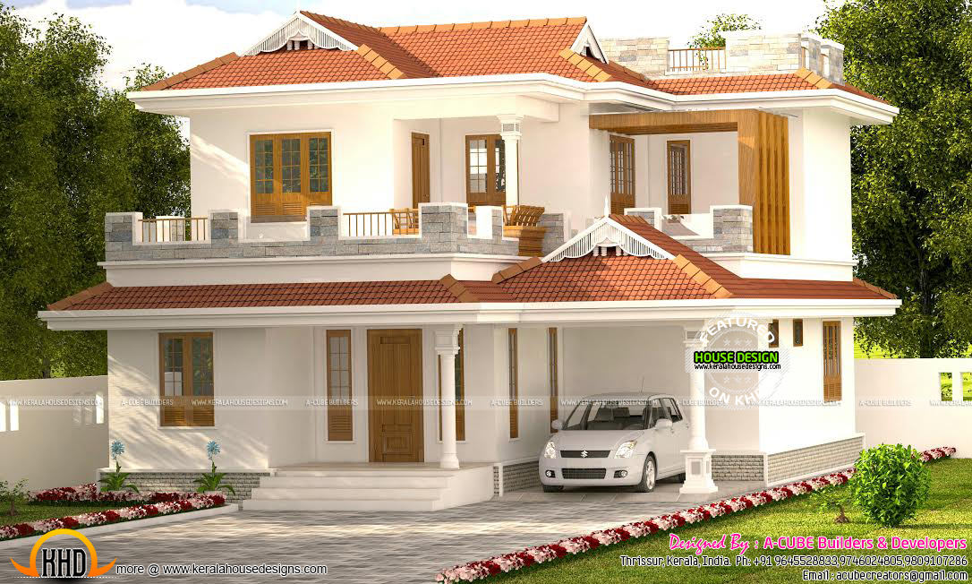 1750 sq ft typical kerala style home kerala home design for Typical house design