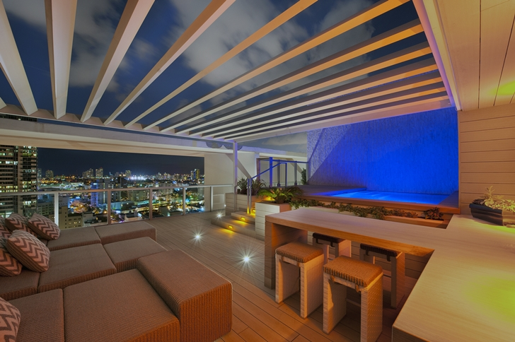 Terrace of Miami Beach Penthouse at night