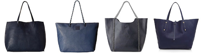One of these navy handbags is from Annabell Ingall for $465 and the other three are under $50. Can you guess which one is the more expensive bag? Click the links below to see if you are correct!
