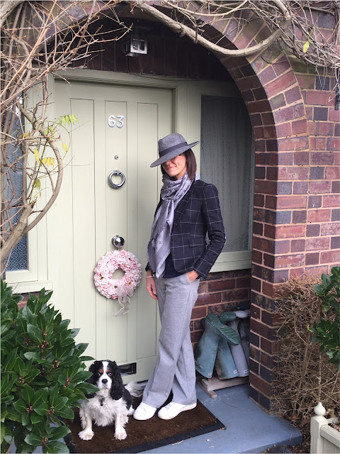 My Midlife Fashion, Zara checked blazer, zara felt trilby, louis vuitton monogram scarf, boden cashmere relaxed v neck jumper, marks and spencer wool wide legged trousers, mango white leather trainers