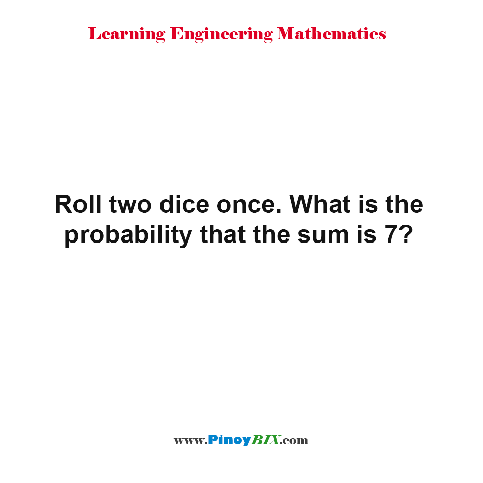 Roll two dice once. What is the probability that the sum is 7?