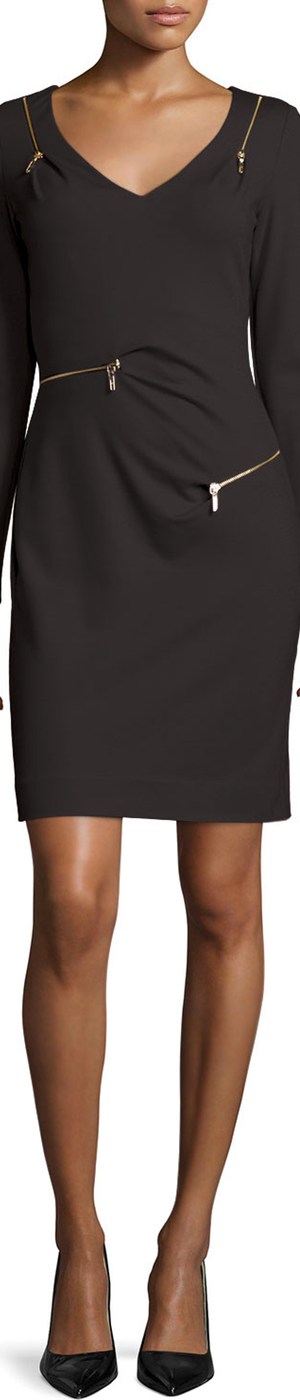 Nicole Miller Long-Sleeve V-Neck Ponte Zipper Sheath Dress