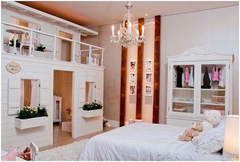Provencal style bedroom with little house for girls. European Style
