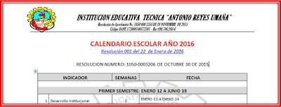 Calendario Escolar ARU-2016