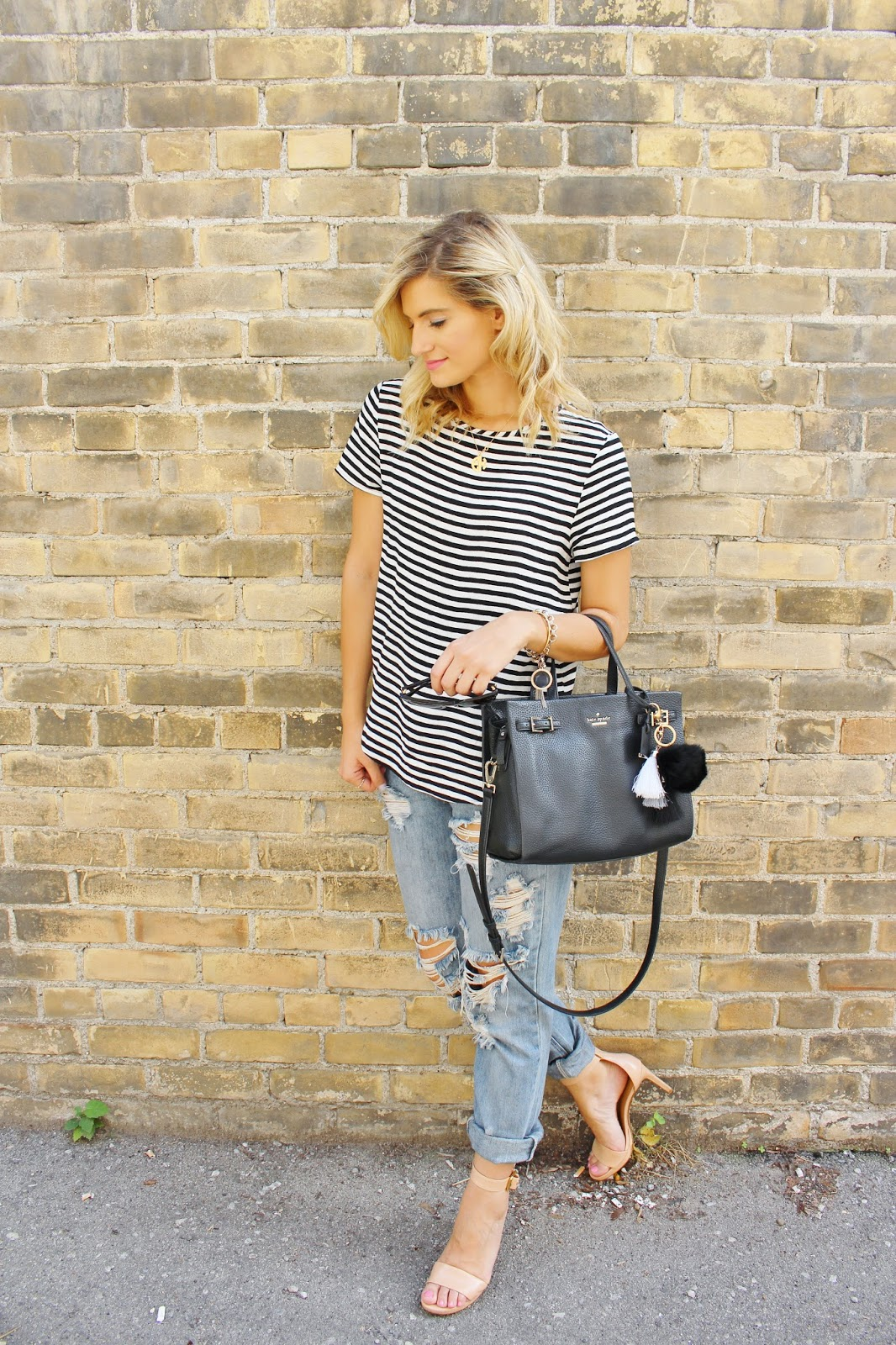 bijuleni, stripe top and distressed jeans