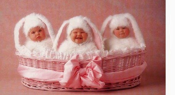 Three white babies dressed as bunnies