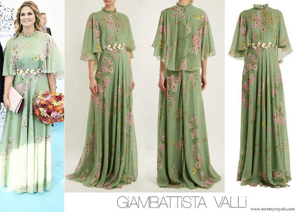 Princess Madeleine wore Giambattista Valli Green Garden Butterfly-print Tiered Silk-georgette Gown