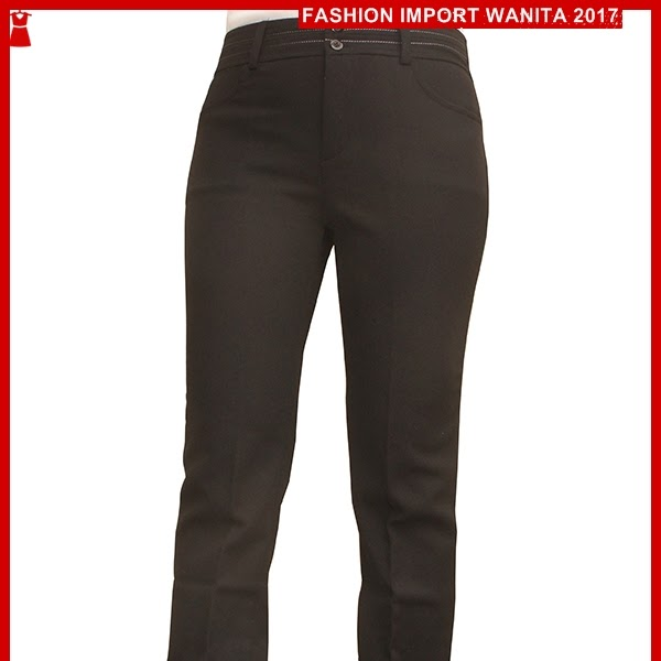 ADR085 Celana Wanita Hitam Panjang Smok Import BMG