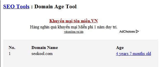 Tính tuổi domain bằng Webconfs