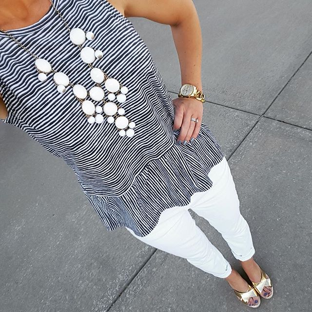Old Navy Relaxed Peplum Top - on sale for $9 (reg $17), use the daily online code to save even more (mine was under $6!) // Gap Factory Jeans (similar; I love the deal on this distressed pair, but they only have a couple sizes left) // Kelsi Dagger Gold Wedges (similar - 35% off) // Michael Kors Chain Link Runway Watch // Esty Bubble Necklace (similar)