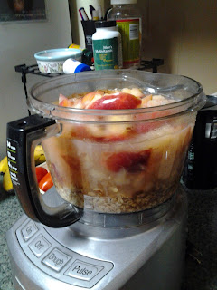 Place apples and other ingredients into food processor