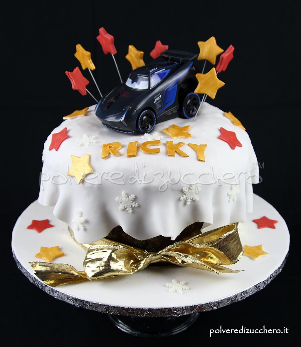 torta decorata cake design natale anno nuovo auguri panettone decroato cars 3 disney polvere di zucchero