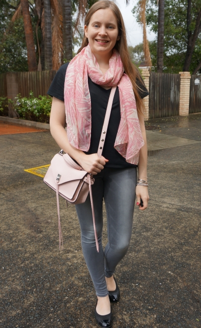 rebecca minkoff pastel peony pink darren bag with black tee grey jeans | awayfromblue
