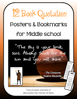 12 Middle School Book Quotation Posters With Readalike Bookmarks