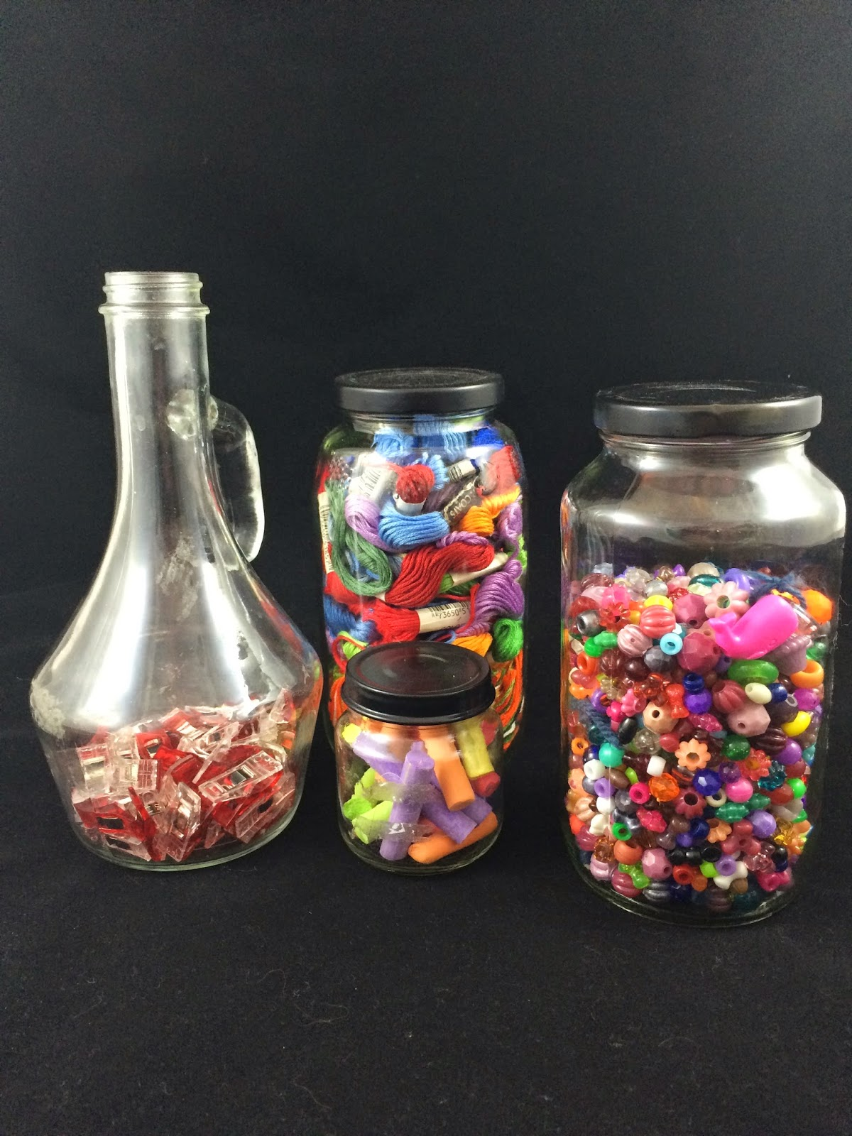 Store beads and more in upcycled glass jars.
