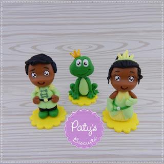 Apliques, Porta recados e caixinhas decoradas d'A Princesa e o Sapo - Festa Infantil - Paty's Biscuit