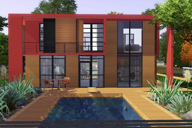 villa contemporaine avec piscine sims 3