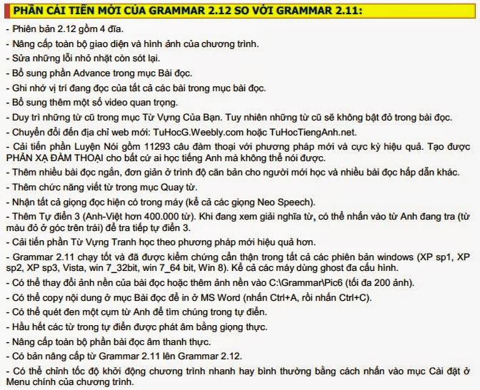 Download Grammar 2.12 Phần Mềm Học Tiếng Anh Full mới nhất 2014