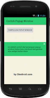 Hasil Contoh Widget Popup Window Android