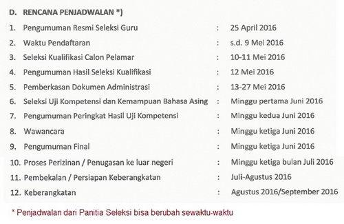 Jadwal Seleksi Guru Sekolah Indonesia Luar Negeri 2016