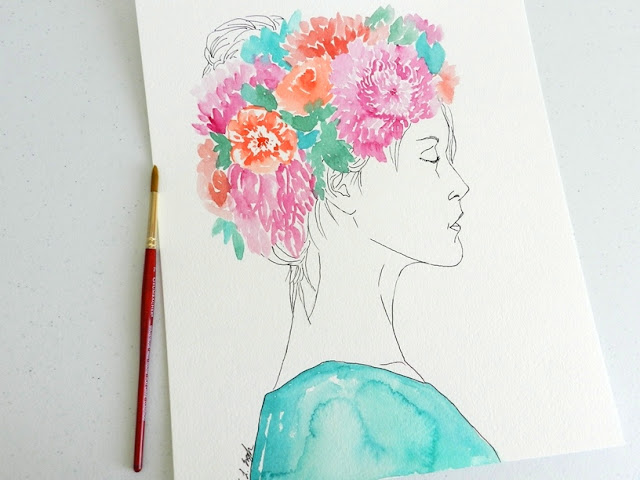 Girl with Floral Crown Watercolor Painting by Elise Engh