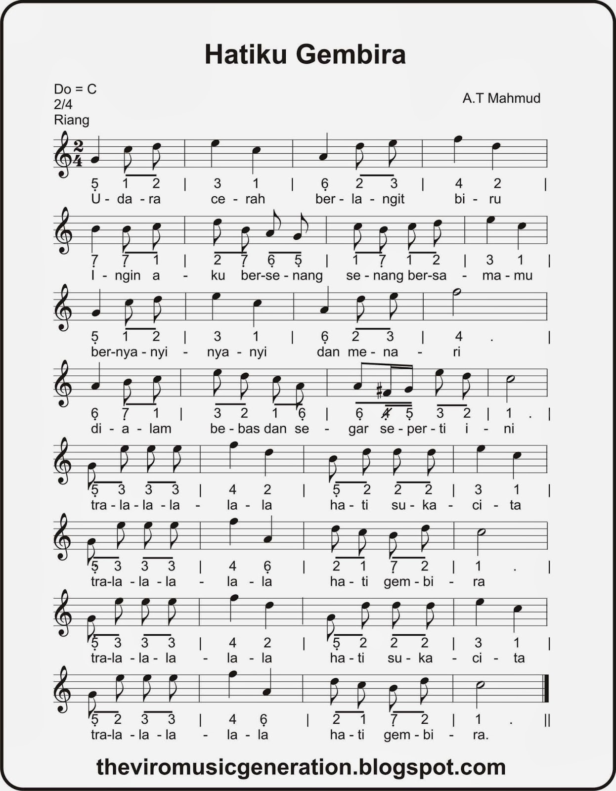 Notasi Lagu Hatiku Gembira The Viro