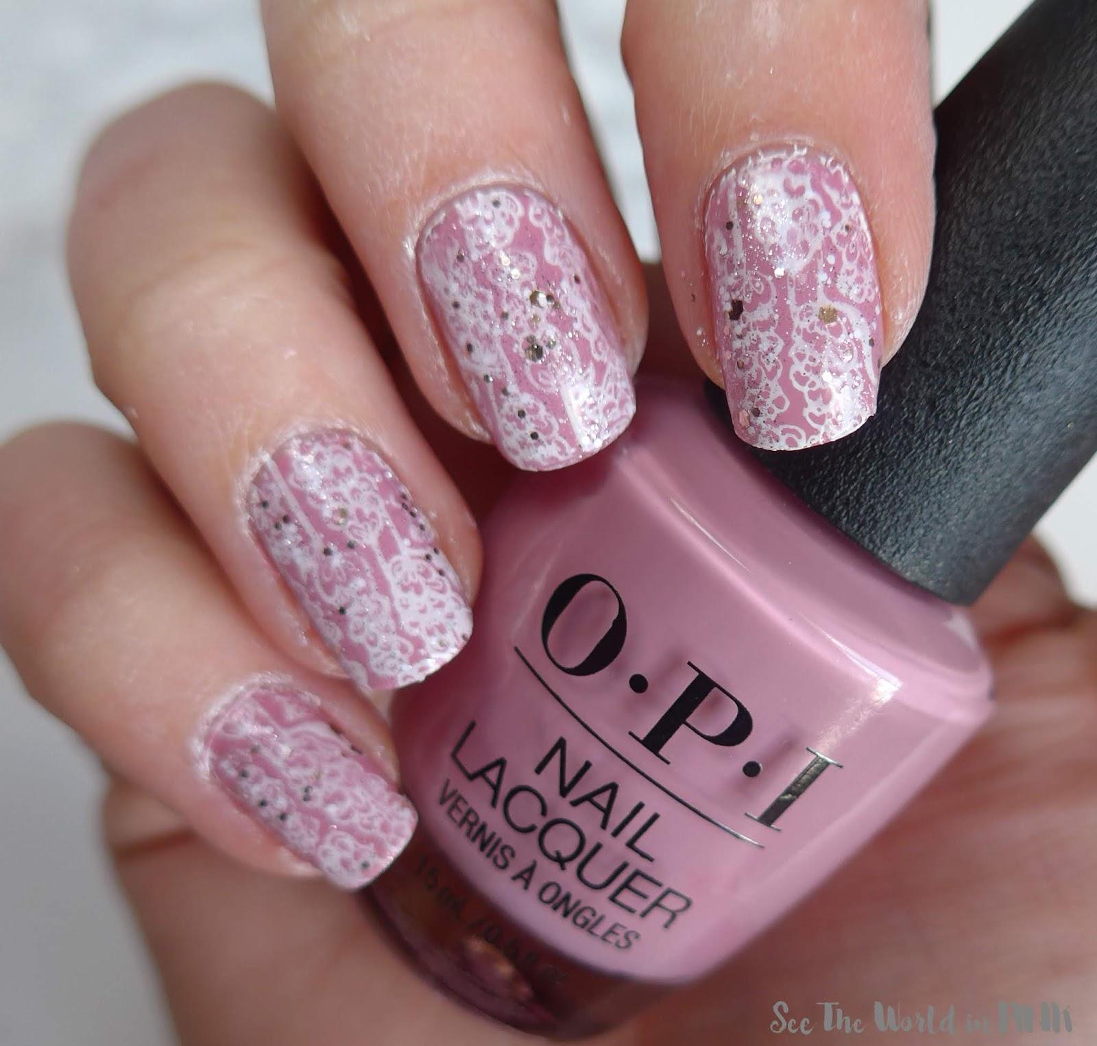 Manicure Monday - Pink, Floral & Glitter Bridal Nails