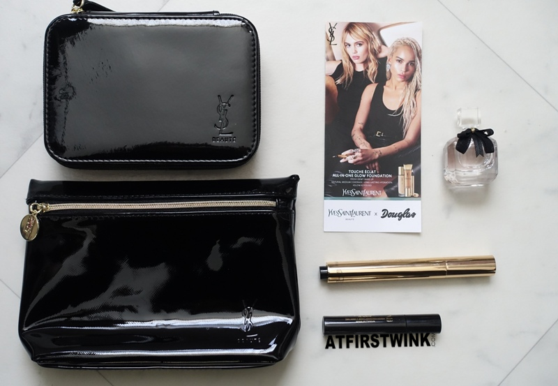 Yves Saint Laurent YSL Beauty masterclass goodiebag vanity with bag case mirror Mon Paris eau de parfum deluxe miniature Touche Éclat pen Douglas coupon