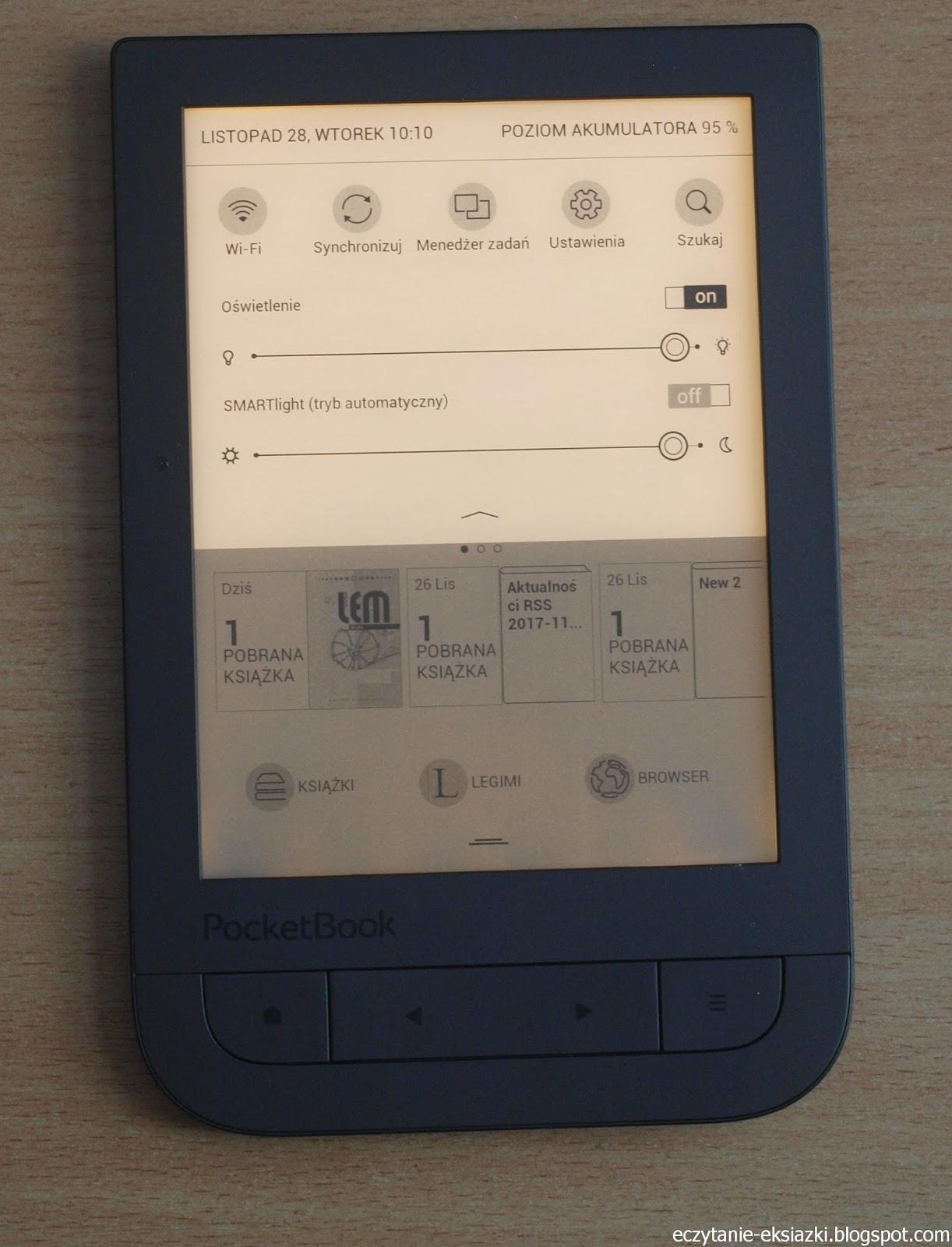 PocketBook TouchHD2 z ustawioną najcieplejszą barwą podświetlenia