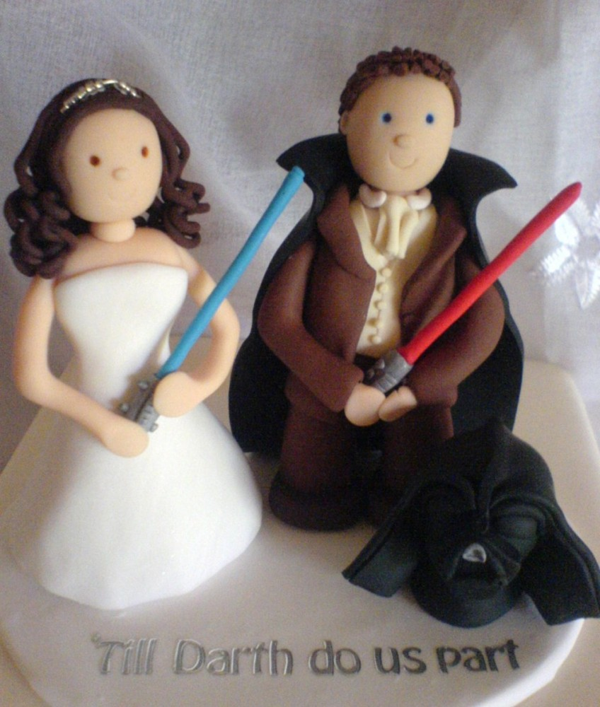 star wars wedding cake topper fluff and flowers cake topper till darth do us our part 20509