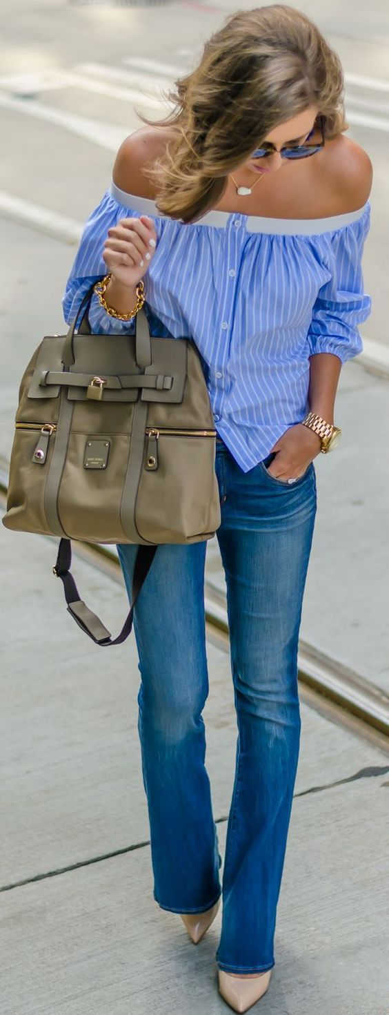 casual style perfection: shirt + bag + jeans