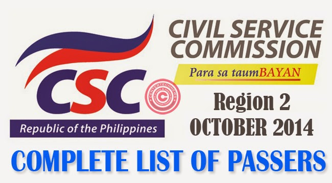 Region 2 Civil Service Exam Results October 2014- Paper and Pencil Test List of Passers