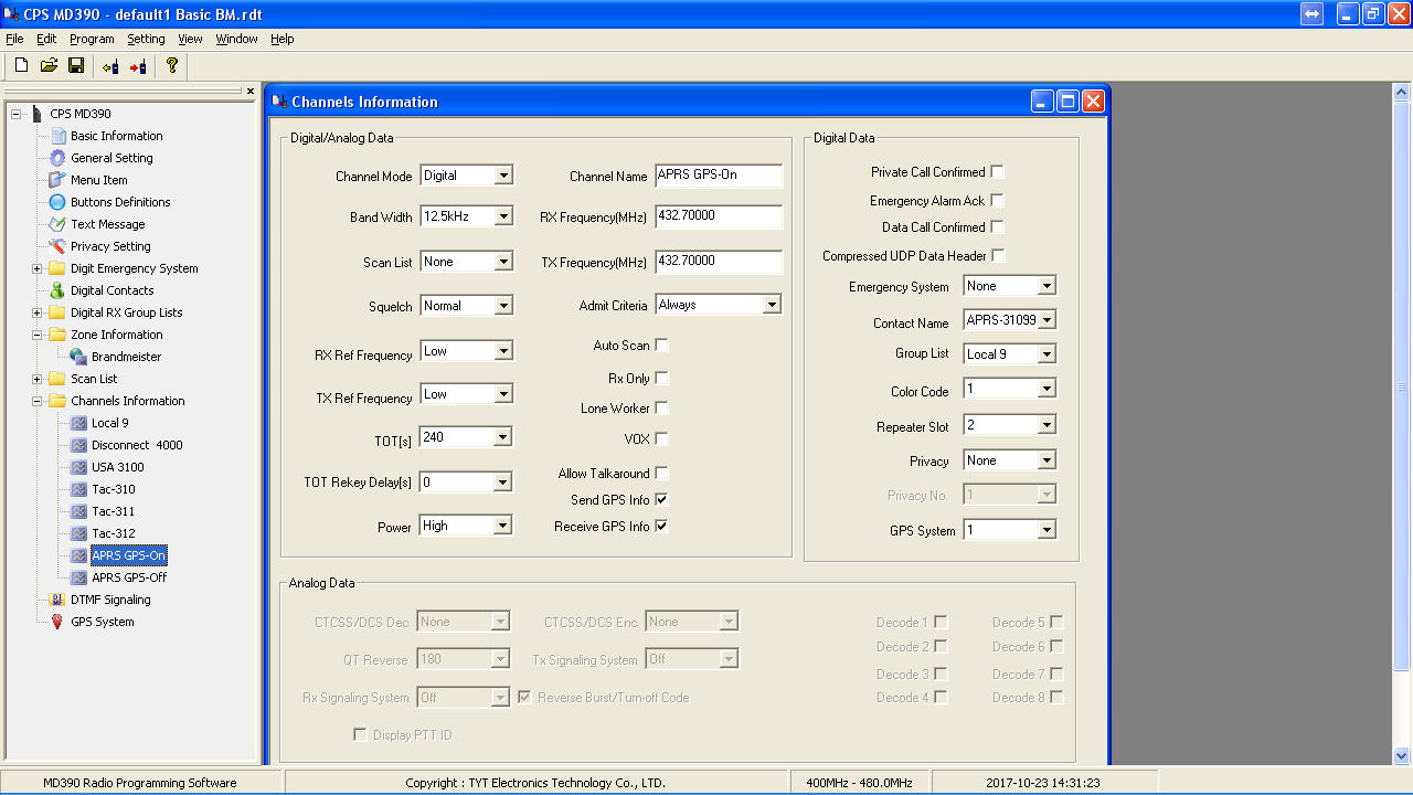 The W9FE Ham Radio Corner: Setup of APRS GPS on TYT MD380