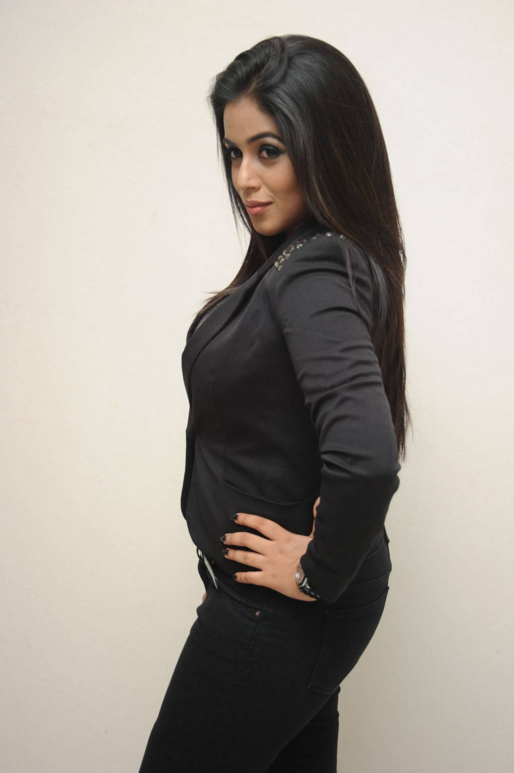 Tollywood Actress Poorna Long Hair In Black Shut