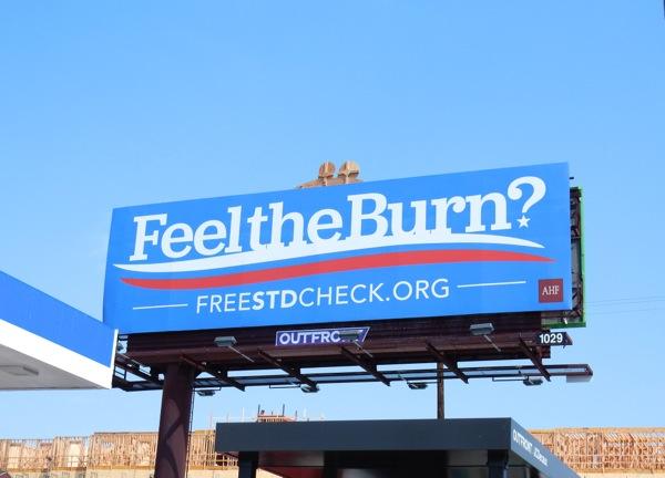 Feel the Burn STD check billboard