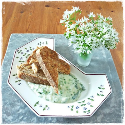 wild garlic flowers, toast and bean and wild garlic dip