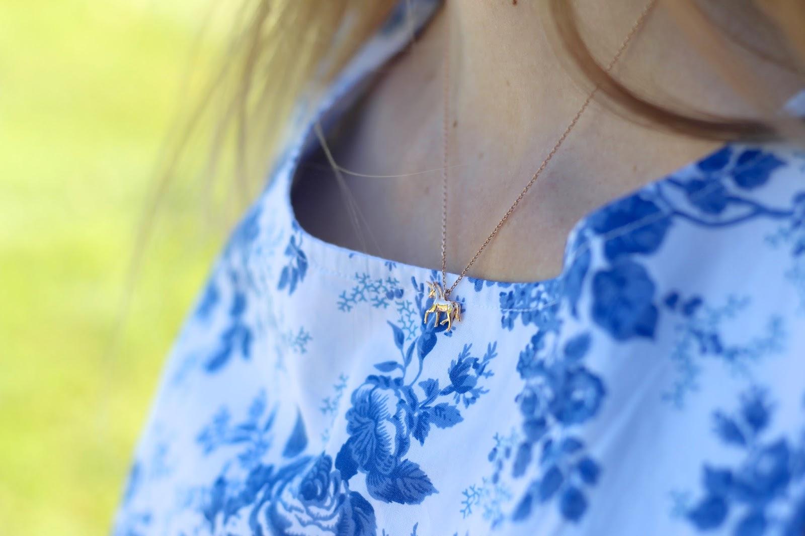 Estella Bartlett dainty unicorn necklace fashion blogger