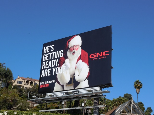 Santa getting ready GNC billboard