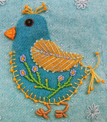 Robin Atkins, chicks, wool applique, bead and thread embroidery