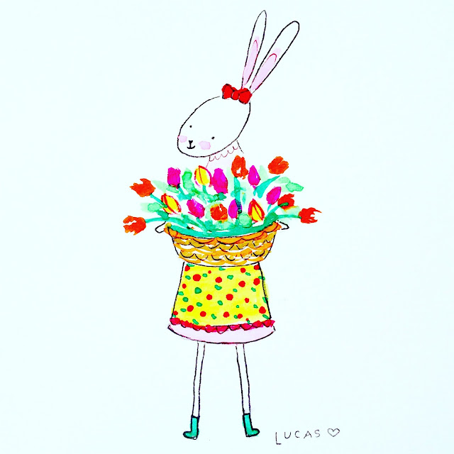 Zinnie the Rabbit with Tulips Watercolor | Linzer Lane Blog