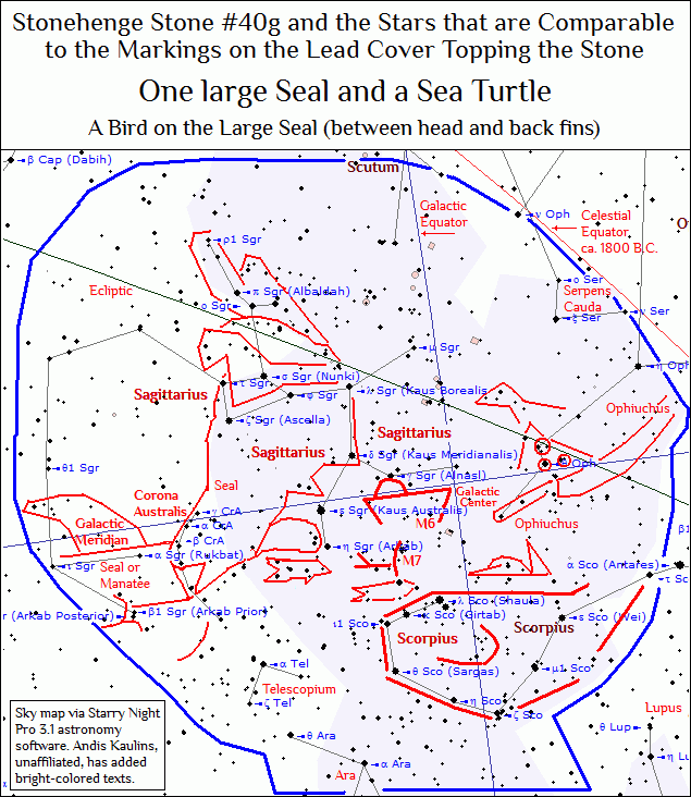 Stonehenge Stone #40g Decipherment 6 Seal Turtle Sagittarius