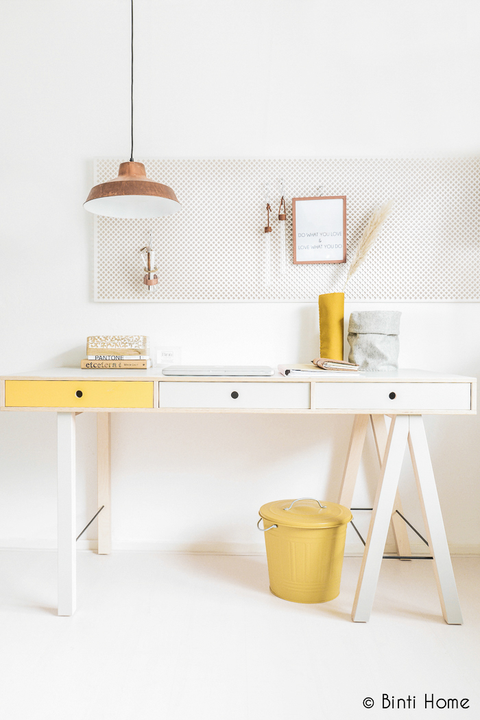 House Doctor mix desk restyling grey and yellow